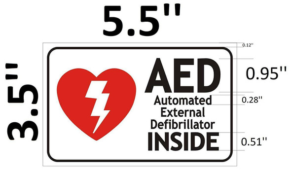 SIGNS AED AUTOMATED External DEFIBRILLATOR Sign (White,