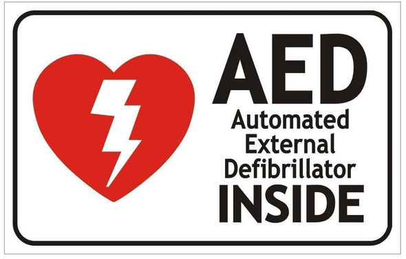 AED AUTOMATED External DEFIBRILLATOR Sign (White,