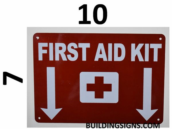 SIGNS First AID KIT Sign (Reflective,Aluminium, RED
