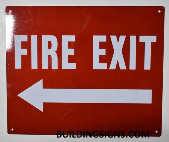 FIRE EXIT Arrow Left Sign (Reflective