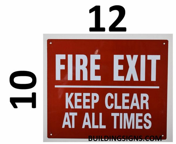 SIGNS FIRE EXIT Keep Clear at All