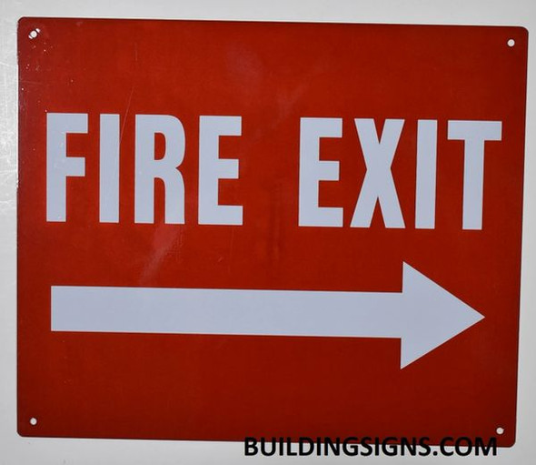 FIRE EXIT Arrow Right Sign (Reflective