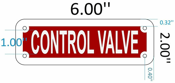 SIGNS CONTROL VALVE SIGN (RED REFLECTIVE ,