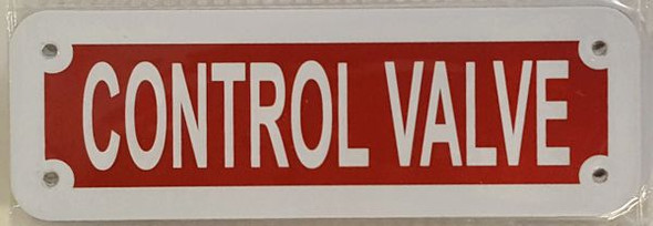 CONTROL VALVE SIGN (RED REFLECTIVE ,