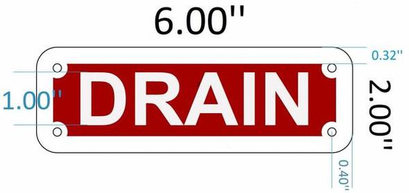 SIGNS DRAIN SIGN (RED REFLECTIVE, ALUMINIUM 2X6