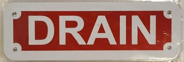 DRAIN SIGN (RED REFLECTIVE, ALUMINIUM 2X6