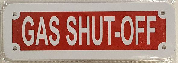 GAS SHUT OFF SIGN (RED REFLECTIVE
