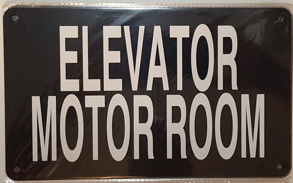 ELEVATOR MOTOR ROOM SIGN (BLACK 6x10