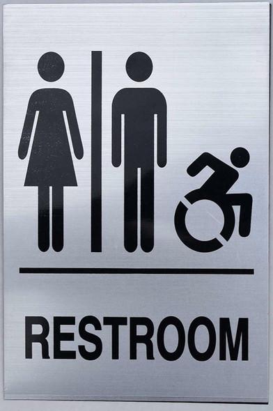 """Unisex Restroom - Sign. 6""""x9"""" Sign"""