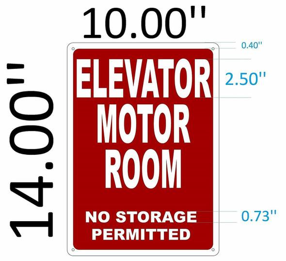 SIGNS ELEVATOR MOTOR ROOM SIGN (Red Background,