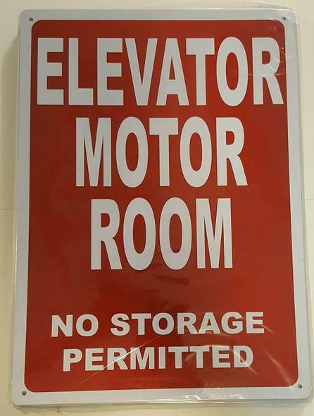ELEVATOR MOTOR ROOM SIGN (Red Background,