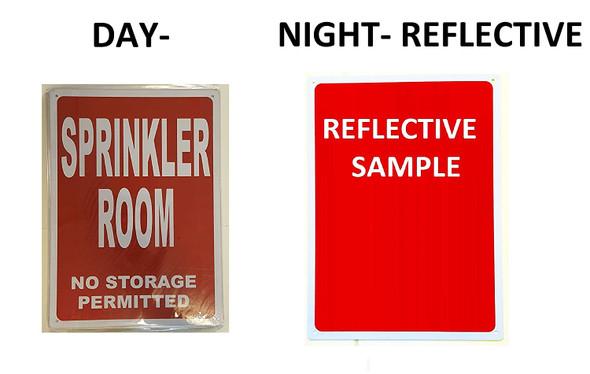 SIGNS SPRINKLER ROOM SIGN (Red Background, reflective,