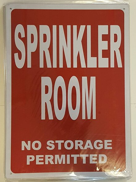 SPRINKLER ROOM SIGN (Red Background, reflective,