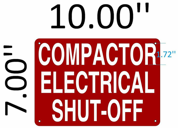 SIGNS COMPACTOR ELECTRICAL SHUT OFF SIGN (Aluminium
