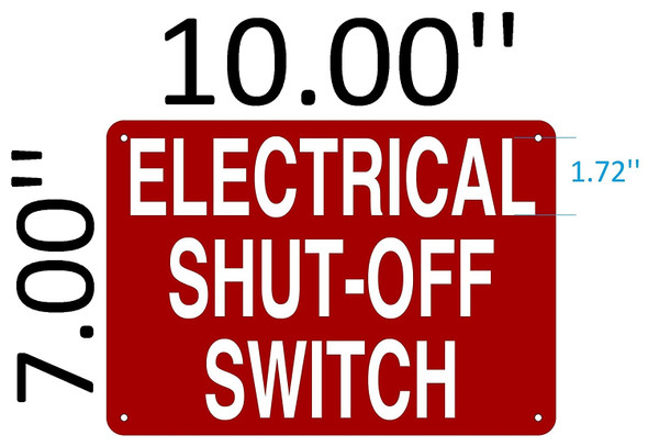 SIGNS ELECTRICAL SHUT OFF SWITCH SIGN (Aluminium