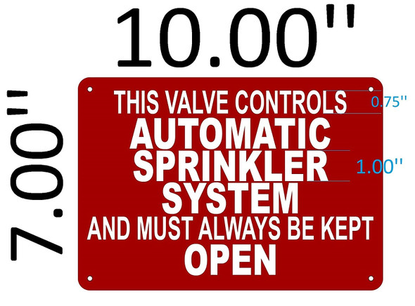 SIGNS This Valve Controls Automatic Sprinkler SIGN