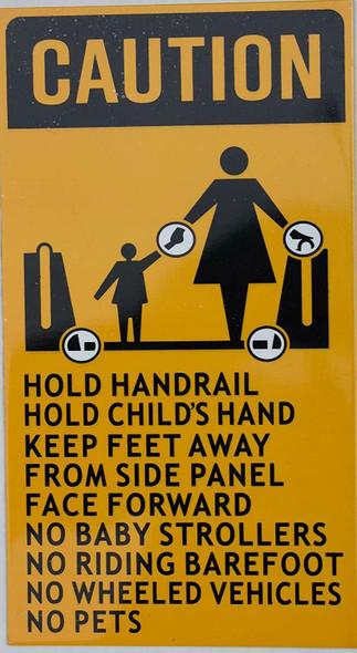 SIGNS Escalator Rules Sign (Aluminium,Duble Sided Tape,Orange