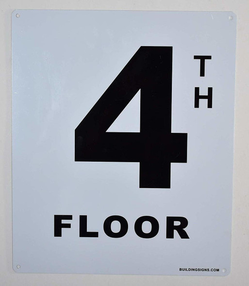 4th Floor Sign (White, Rust Free