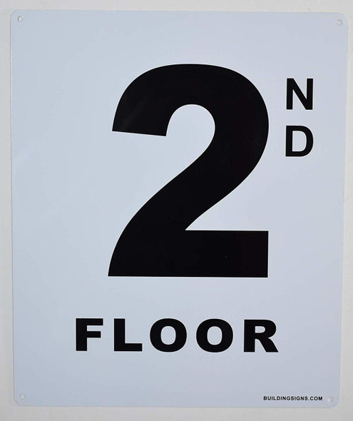 2nd Floor Sign (White, Rust Free