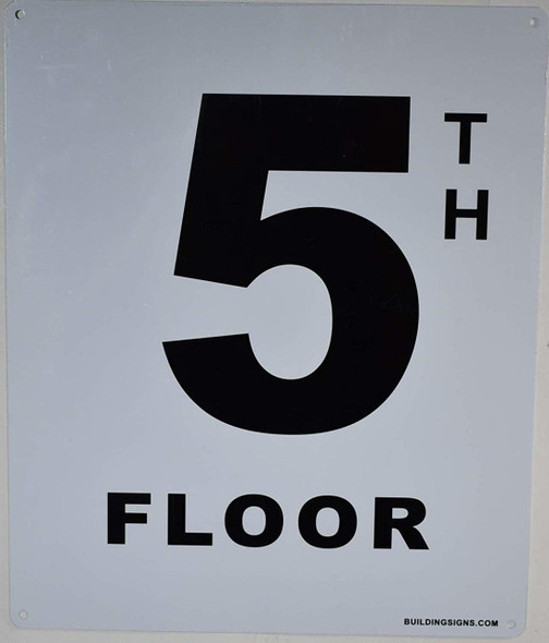 5th Floor Sign (White, Rust Free