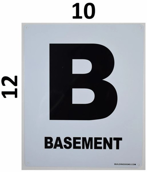 SIGNS Basement Floor Sign (White, Rust Free
