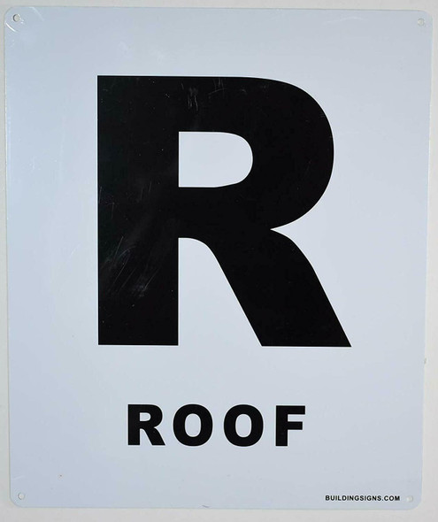 ROOF Floor Number Sign (White, Rust