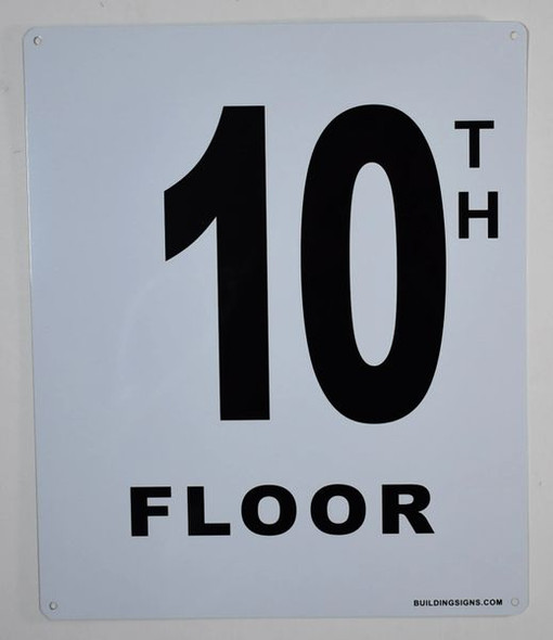 10th Floor Sign (White, Rust Free