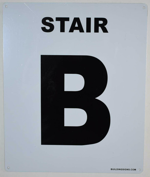 Stair B Sign (White, Rust Free