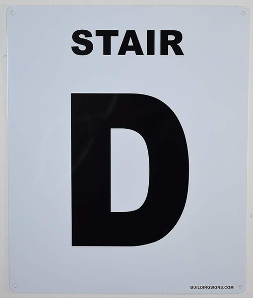 SIGNS Stair D Sign (White, Rust Free
