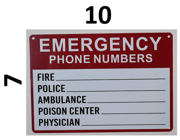 SIGNS Emergency Phone Numbers Safety Sign -