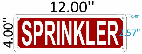 SIGNS SPRINKLER SIGN (Aluminium Reflective , RED