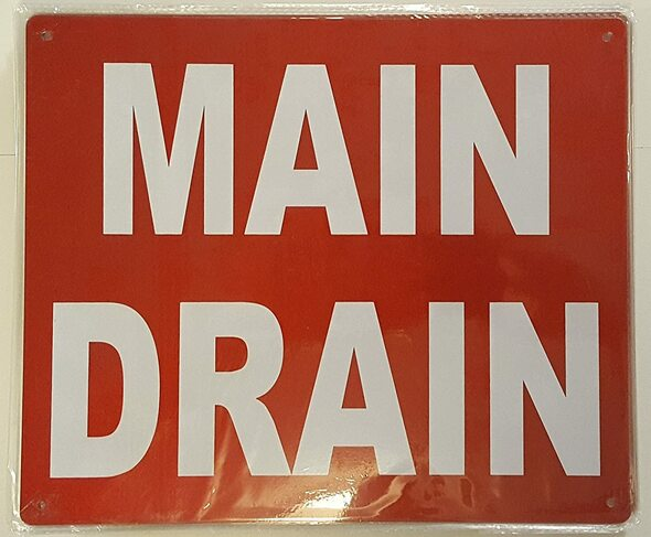 MAIN DRAIN SIGN (Aluminium Reflective ,