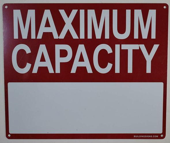 Maximum Capacity Sign -(White,Aluminium, 10X12)-(ref062020)