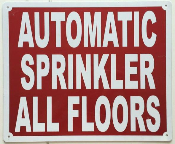 AUTOMATIC SPRINKLER ALL FLOORS SIGN (Aluminium