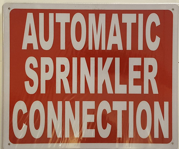 AUTOMATIC SPRINKLER CONNECTION SIGN ( REFLECTIVE