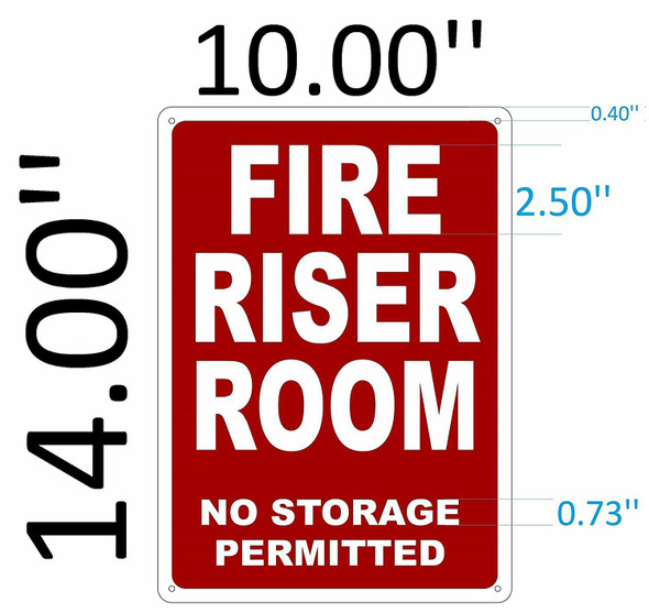 SIGNS FIRE Riser Room Sign (White,Reflective !!