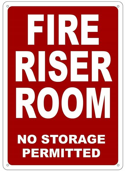 FIRE Riser Room Sign (White,Reflective !!