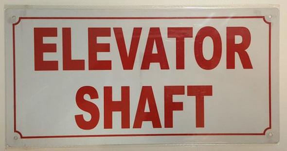 Elevator Shaft Sign (White,Reflective, Aluminium 6X12)-(ref062020)