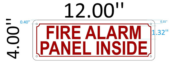 SIGNS FIRE Alarm Panel Inside Sign (White,Reflective,