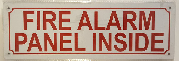 FIRE Alarm Panel Inside Sign (White,Reflective,