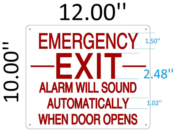 SIGNS EMERGENCY EXIT ALARM WILL SOUND AUTOMATICALLY