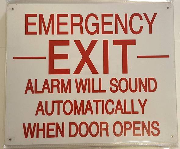 EMERGENCY EXIT ALARM WILL SOUND AUTOMATICALLY