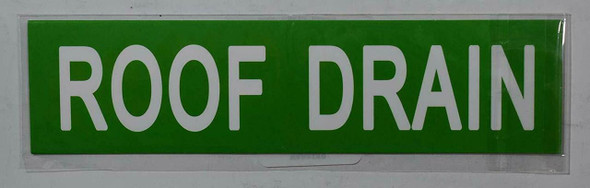 SIGNS ROOF DRAIN SIGN (STICKER 2X8) GREEN-(ref062020)
