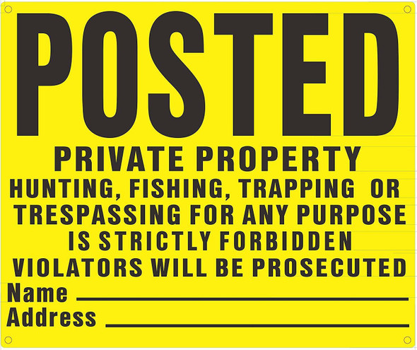 SIGNS Posted Private Property No Hunting Fishing