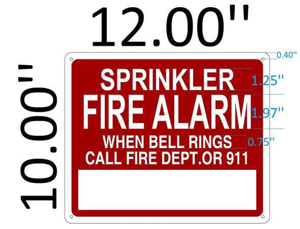 SIGNS Sprinkler FIRE Alarm When Bell Rings