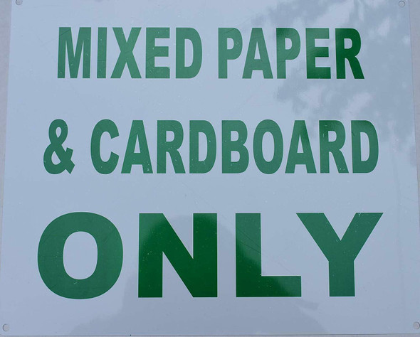 Mixed Cardboard and Paper only Sign