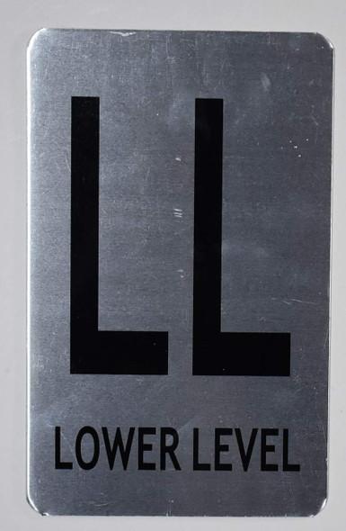 Lower Level Sign (Brush Aluminium, 5X8)-The