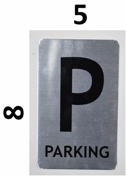 SIGNS Parking Floor Number Sign (Brush Aluminium,