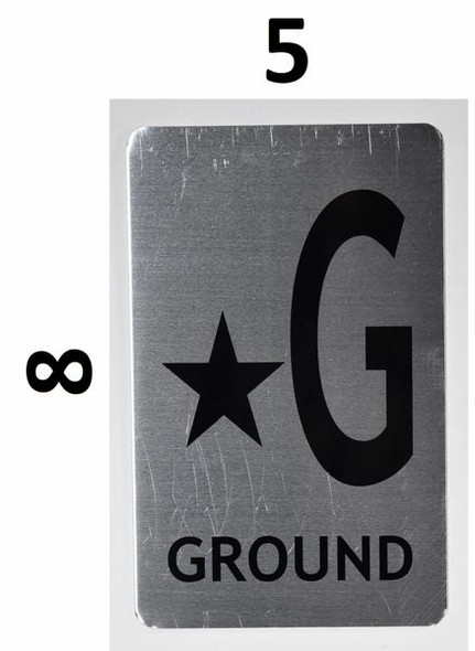 SIGNS Star Ground Floor Number Sign (Brush