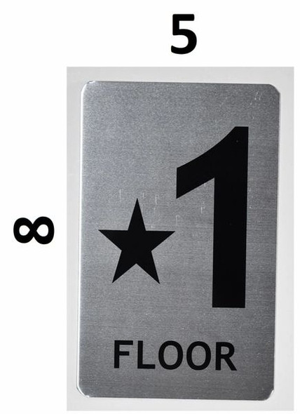 SIGNS Star Floor ONE Number Sign (Brush